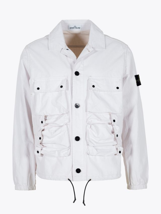 Stone Island 43563 Tela Placcata Field Jacket Off White 1