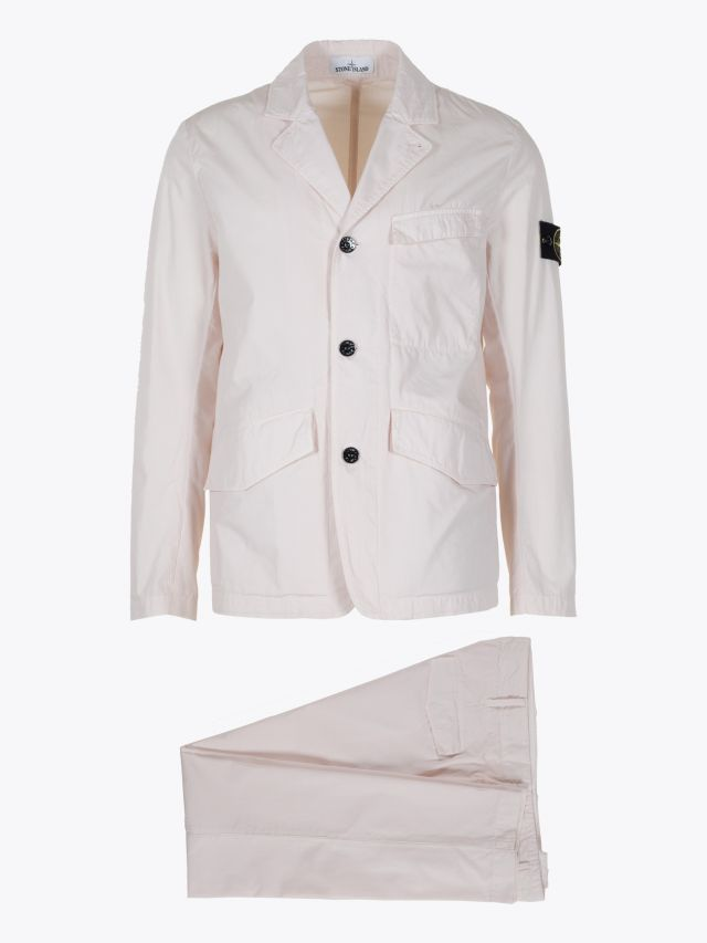 Stone Island 80121 Structured Cotton Suit Off-White 1