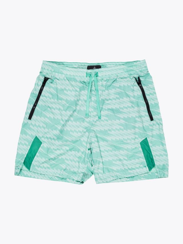 Stone Island Shadow Project B0113 Printed Naslan Light Swim Shorts Aqua 1