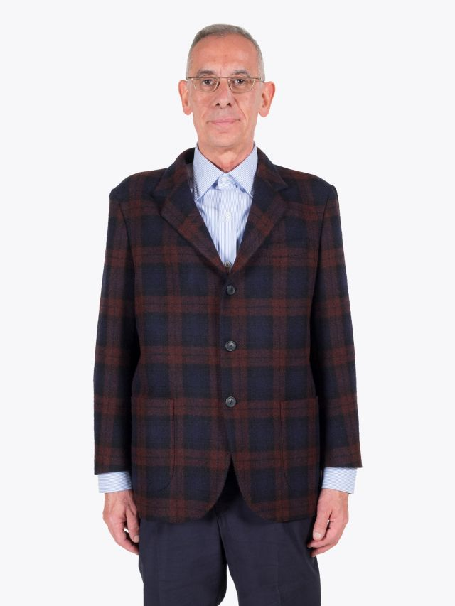 Salvatore Piccolo Unstructured Wool Blazer Prince of Wales Checked Brown / Navy Blue 1
