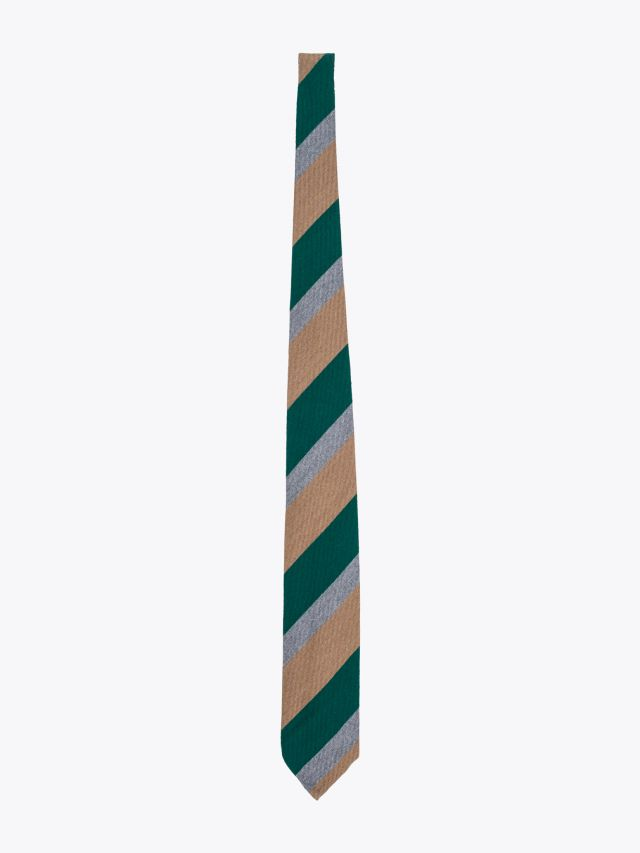 Salvatore Piccolo Ties Striped Wool and Silk Green / Camel 1