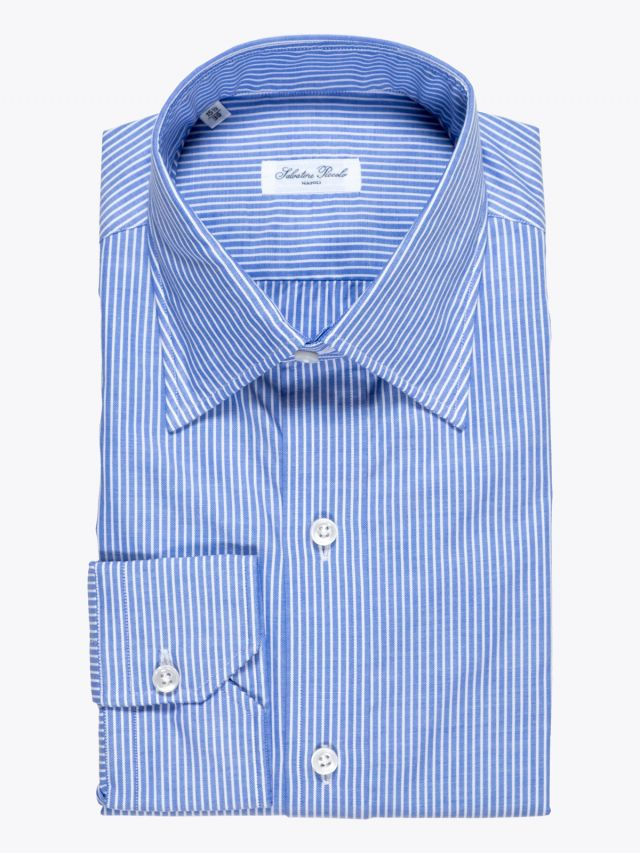 Salvatore Piccolo Slim-Fit Cotton Oxford Candy Striped Navy 1