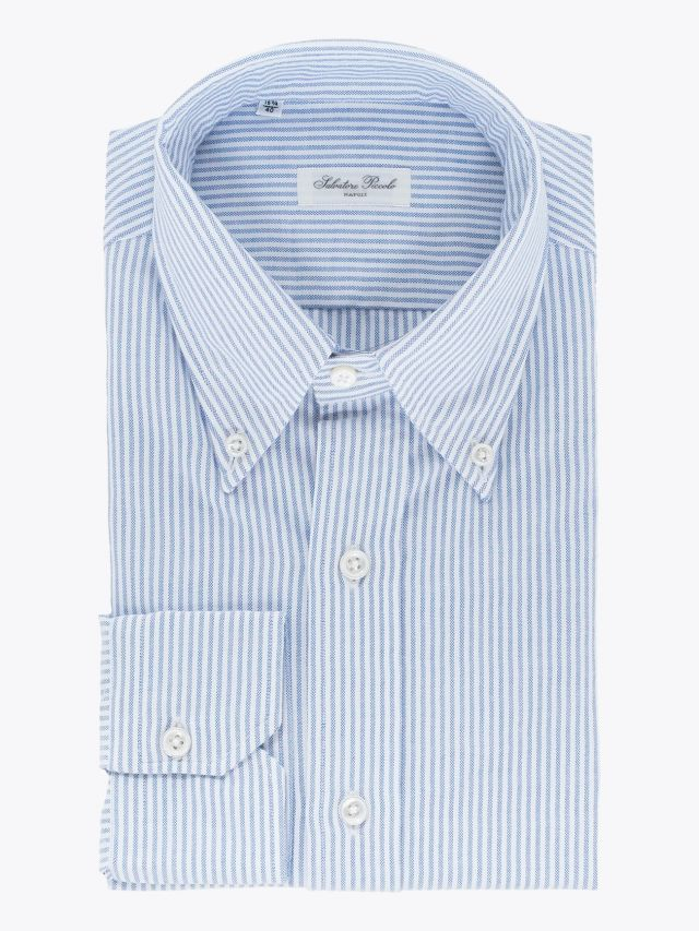 Salvatore Piccolo Slim Fit Button Down Striped Oxford Shirt Blue 1
