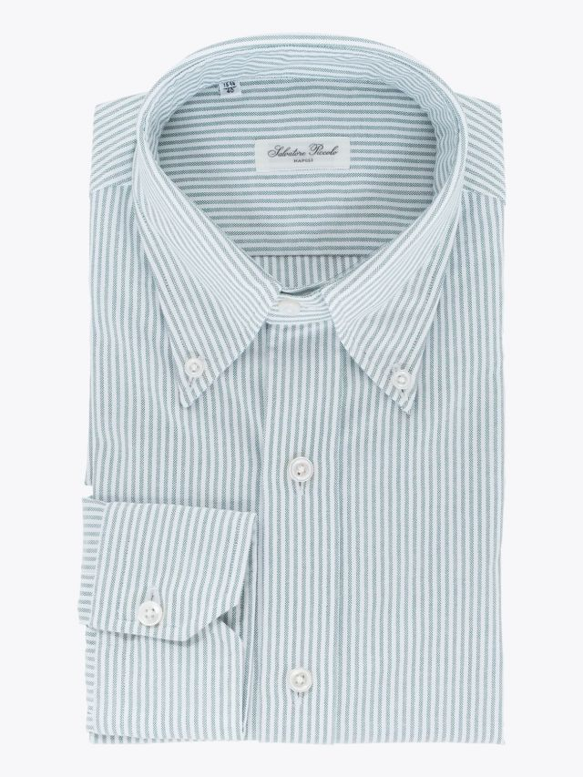 Salvatore Piccolo Slim Fit Button Down Striped Oxford Shirt Green 1