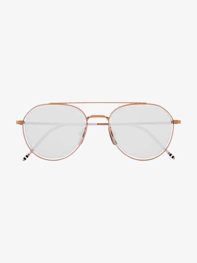 Thom Browne TB-801 Aviator Sunglasses Rose Gold Front View