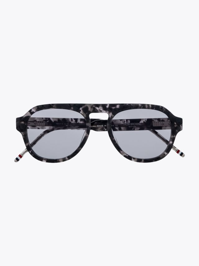 Thom Browne TB-416 Aviator Sunglasses Grey Tortoise Front View