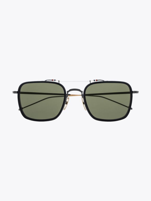 Thom Browne TB-816 Aviator Sunglasses Black / Black Iron / White Gold Front View