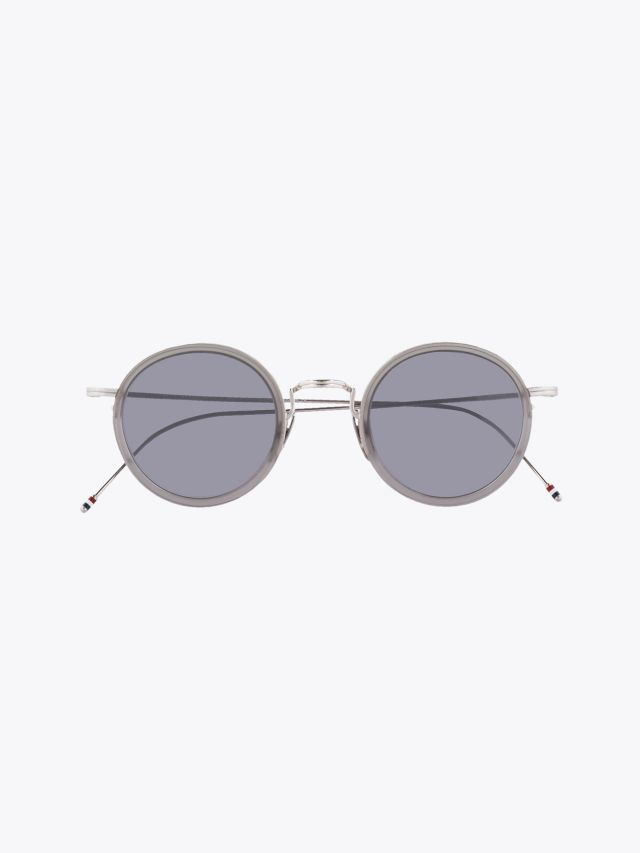 Thom Browne TB-906 Sunglasses Satin Crystal Grey – Silver 1