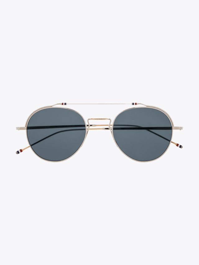 Thom Browne TB-912 Sunglasses Aviator Silver - White Gold Front View