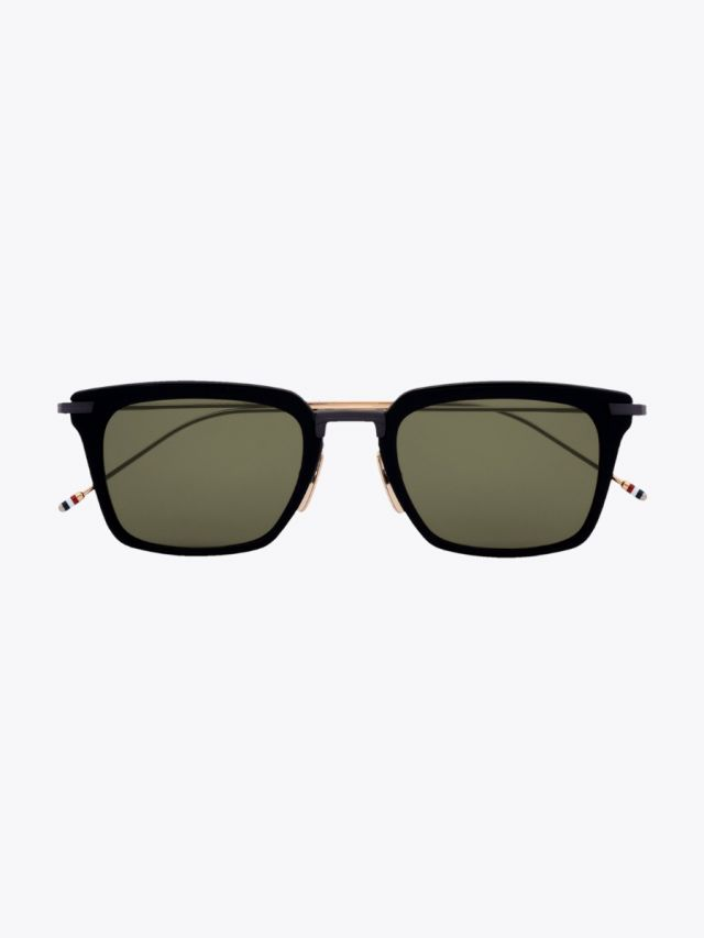 Thom Browne TB-916 Angular Sunglasses Black / Black Iron / White Gold Front View