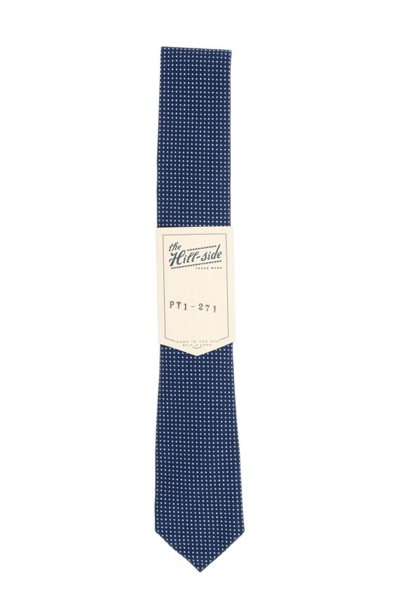 The Hill-Side Pointed Tie Indigo Wabash Polka Dot