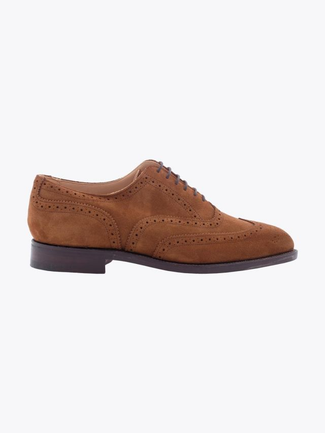 Tricker's Piccadilly Brogue Repello Suede Snuff Side View